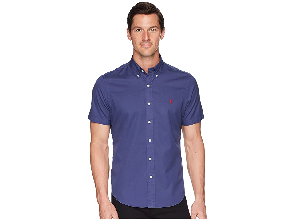 Polo Ralph Lauren Garment Dyed Chino Short Sleeve Sport Shirt (New Classic Navy) Men