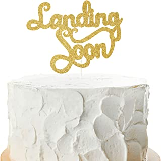 Landing Soon Cake Topper,Hello Baby Sgin,Baby Shower Mummy To Be Party Supplies Retirement Farewell Graduation Party Decorations( Double Sided Gold Glitter )