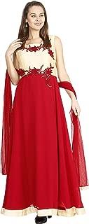 Manmandir Maroon Colour Womens Faux Georgette Anarkali Readymade (Salwar Suits for Women)