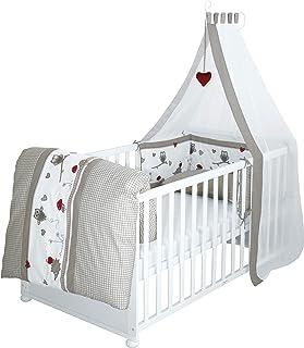 """roba Komplettbett Set """"Adam & Eule"""", Babybett weiß inkl, Bettwäsche, Himmel, Nest, Matratze, Kombi Kinderbett 70x140cm umbaubar zum Junior Bett"""