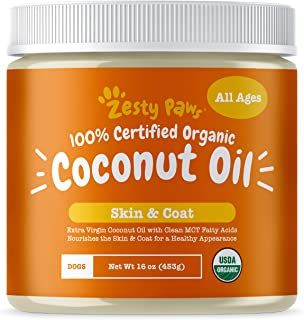 Zesty Paws Coconut Oil for Dogs - Certified Organic & Extra Virgin Superfood Supplement - Anti Itch & Hot Spot Treatment -...