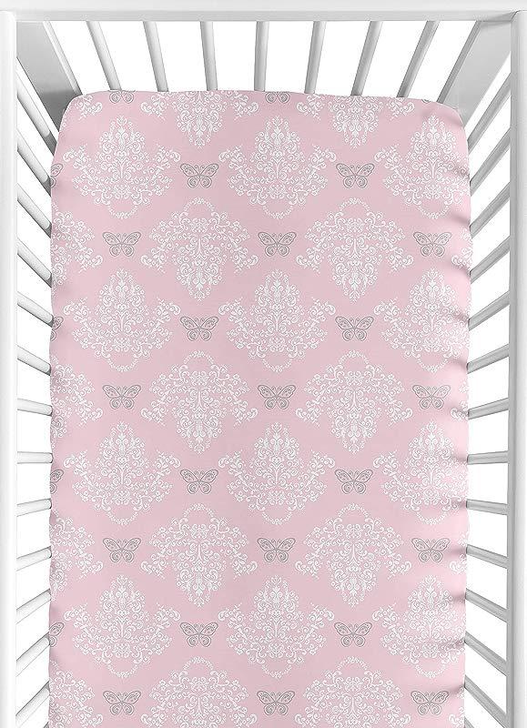 Sweet Jojo Designs Fitted Crib Sheet For Shabby Chic Alexa Baby Toddler Bedding Damask Print