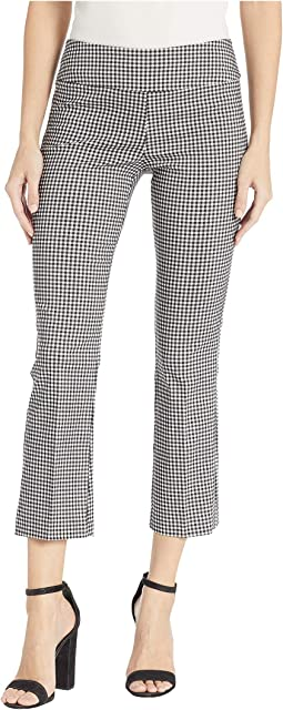 Stretch Gingham Pull-On Bootcut Crop Pants