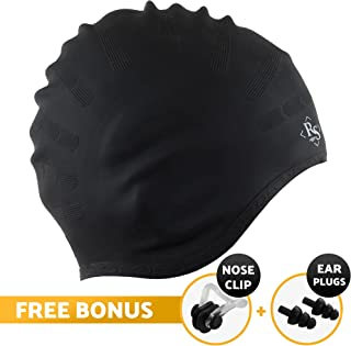 Royal Swim Cap for Long Hair - Good for Women & Men - Waterproof Premium Silicone Swimming Caps - Special Shape for Effective Ear Protection - Keeps Hair Dry - with Nose Clip & Ear Plugs