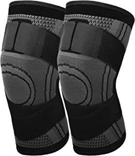 MoKo Knee Compression Sleeve, [2 Pack] Adjustable Knee Brace Knee Pad Stabilizers with Strap Knee Support for Runining, Ba...