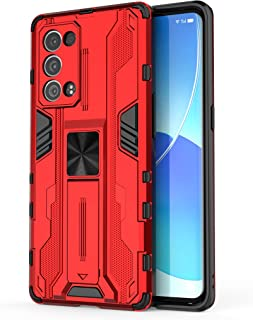 جراب Oppo Reno6 Pro + 5G، جراب واقٍ متين ومتين ومقاوم للصدمات مع مسند، جراب واقٍ مضاد للصدمات لهاتف Oppo Reno6 Pro+ 5G-Red