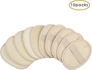 10 Packs Exfoliating Loofah Sponge Pads,Large 4x5.7-100% Natural Luffa and Terry Cloth Materials,Loofa Sponge Scrubber Bod...