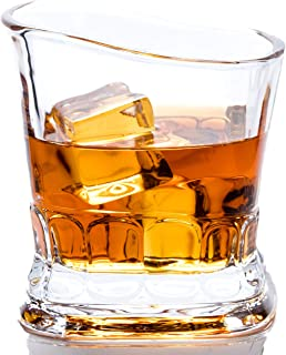 Whiskey Scotch Glass, European Design - Set of 2 Crystal Drinking Glasses in Luxury Giftbox - Ultra Clarity, 100% Lead-Free Glassware Dishwasher Safe Tumbler for Bourbon Liquor cocktail on the rocks