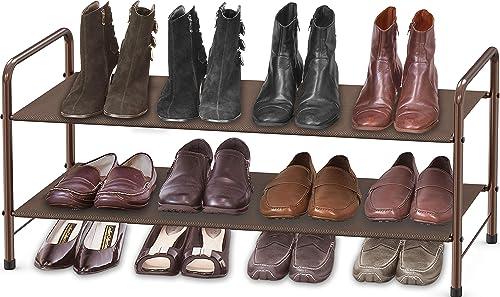 lowest Simple Houseware high quality 2-Tier Shoe Rack Storage 2021 Organizer, Bronze online sale