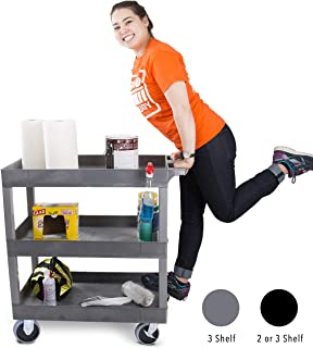Original Tubstr 3 Shelf Utility Cart/Service Cart - Heavy Duty - Supports up to 400 lbs - Tub Carts w/Deep Shelves - Great for Warehouse, Garage, Cleaning and More (3 Shelf - 32 x 18 / Gray)