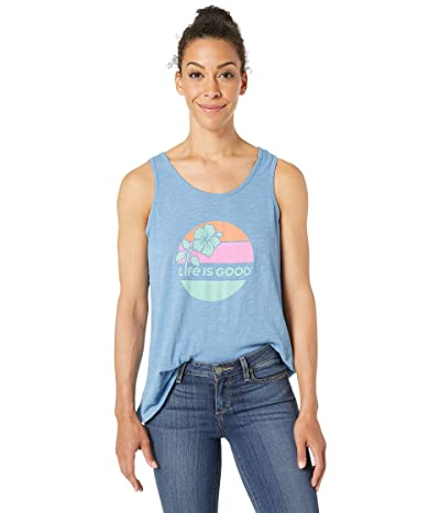 Life is Good Hibiscus Sun Breezy Tank Top (Powder Blue) Women