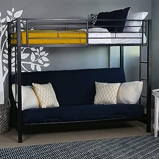 WE Furniture Modern Metal Pipe Twin Over Futon Bunk Kids Bed Bedroom Storage Guard Rail Ladder, Black