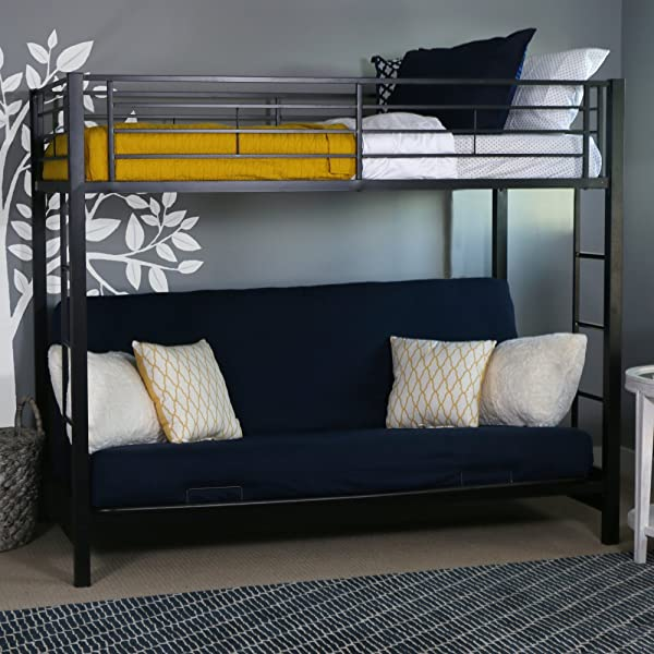Walker Edison Twin Over Futon Convertible Couch With Metal Frame And Ladder Bunk Bed Black