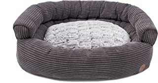 Petface Cord Luxury Sofa Style Bumper Dog Bed, 35-Inch, Grey