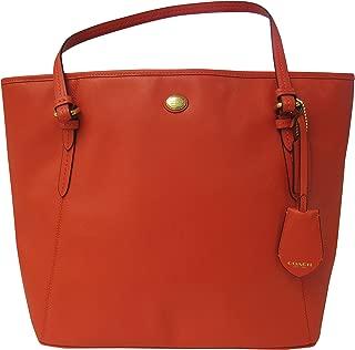 Peyton Saffiano Leather Zip Top Tote in Persimmon Orange - Style 27349