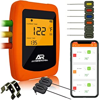 AKSESROYAL Wireless Remote Digital Thermometer for Grilling, 6 Probes, Smart Cooking BBQ for Smoker, Oven Meat Bluetooth Monitor, Timer, Alarm for Kitchen, Instant Read, iOS & Android, Perfect Gift