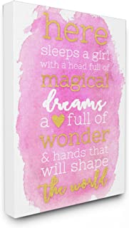 Stupell Home Décor Here Sleeps a Girl Pink and Gold Typography Oversized Stretched Canvas Wall Art, 24 x 1.5 x 30, Proudly Made in USA
