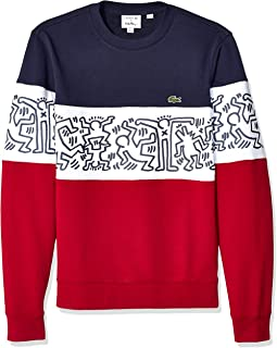 Lacoste Men's Long Sleeve French Terry Pgraphic Colorblock Sweater