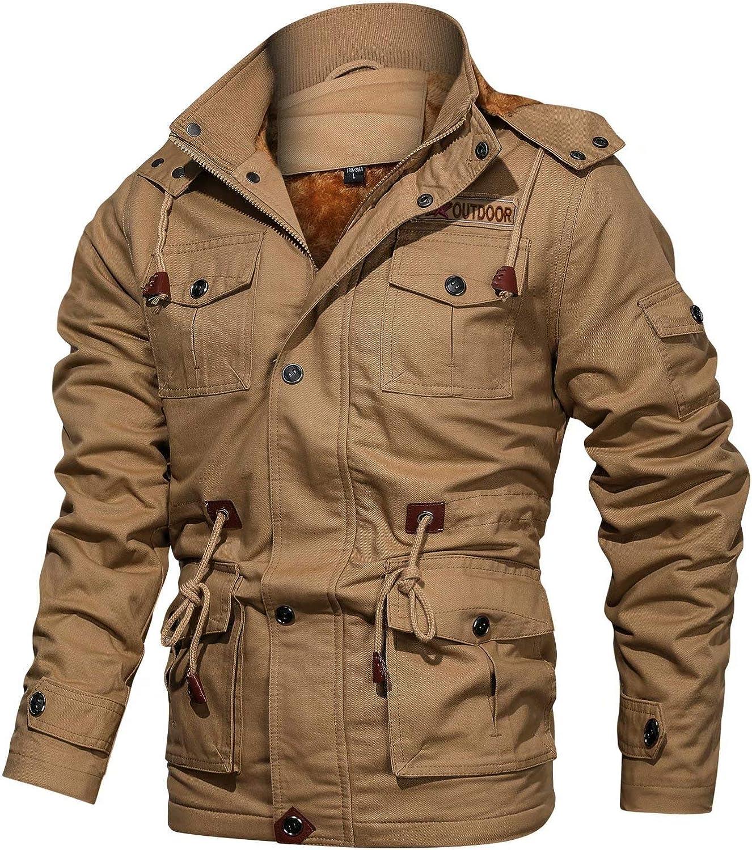 BIYLACLESEN Men's Winter Cotton Cargo Jackets 8 Pockets Windbreaker Fleece Lined Coat Stand Collar Work Jacket