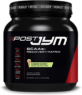 Post JYM Active Matrix - Post-Workout with BCAA's, Glutamine, Creatine HCL, Beta-Alanine, and More | JYM Supplement Science | Rainbow Sherbert Flavor, 30 Servings