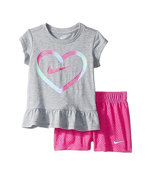 33c34662b2 Nike Kids Heart Short Sleeve Tee Mesh Short Set (Toddler) at Zappos.com