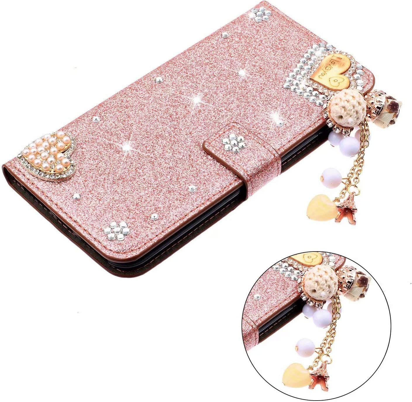 Glitter Tassel Diamonds Bling Wallet Flip Case Compatible for Huawei Honor 20E Phone Cover Shockproof PU Leather Stand Magnetic Folio Card Slots TPU Bumper Huawei Honor 20E Case Rainbow Pink