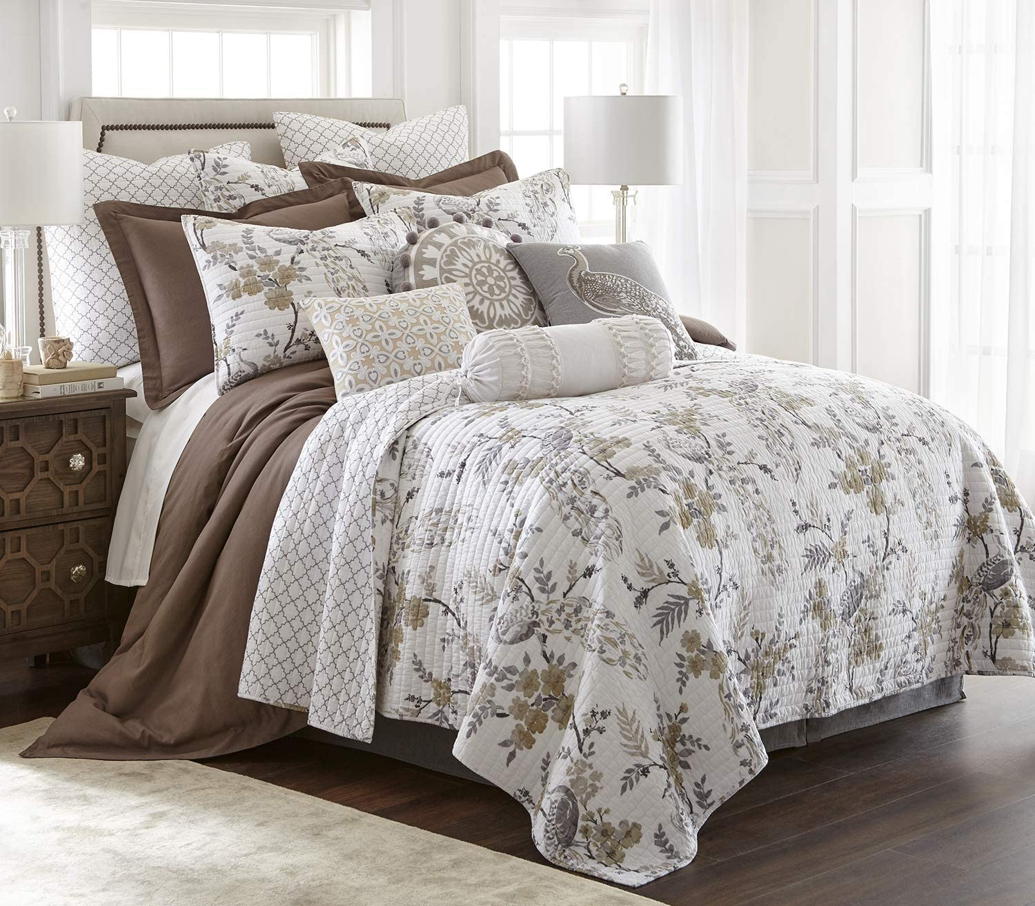 Levtex Home - Pisa Quilt Set - Full/Queen Quilt + Two Standard Pillow Shams - Floral Contemporary Peacock - Grey and Taupe - Quilt Size (88x92in.) and Pillow Sham Size (26x20in.) - Reversible - Cotton