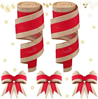 Lyrow 2 Rolls Christmas Burlap Ribbons Red Burlap Wired Ribbon for Present Wrap, Bows, Wreath, Garland, Present Basket, Ch...
