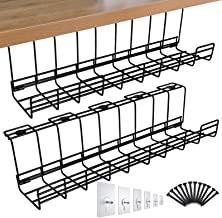 Spacrea Under Desk Cable Management Tray, Metal Wire Cable Tray for Office and Home, 2 Pack Standing Desk Tray with 15 Cab...
