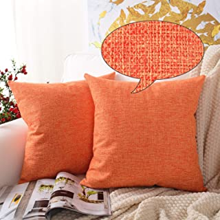 MERNETTE Pack of 2, Cotton Linen Blend Decorative Square Throw Pillow Cover Cushion Covers Pillowcase, Home Decor Decorations for Sofa Couch Bed Chair 18x18 Inch/45x45 cm (Orange)
