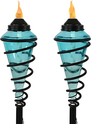 Sunnydaze Blue Glass Torch with Metal Swirl, Outdoor Patio and Lawn Torch, 25- to 66-Inch Adjustable Height, Set of 2