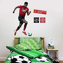 Beautiful Game Ltd Manchester United Football Club Official Marcus Rashford Running Player Wall Sticker + Man Utd Logo Decals Vinyl Poster Print Mural Art (Life Size)