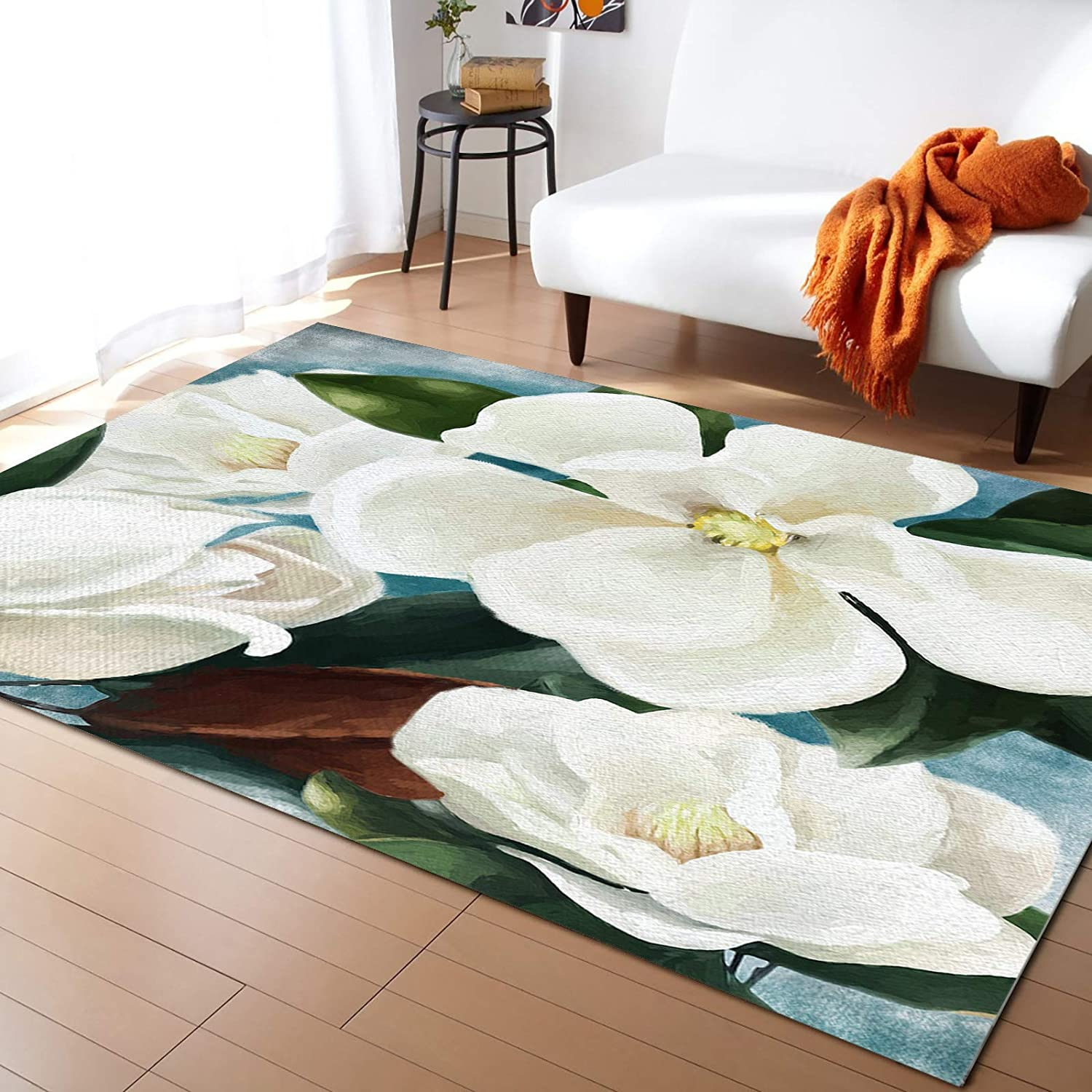 Olivefox Rugs White Magnolia Flower Area Rug Non-Slip Stain-Proof Accent Area Rug for Bedroom Living Room Home Decoration, 2x3 Feet Soft Rectangle Carpet Super Absorbent