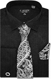 C. Allen Men's Solid Striped Pattern Regular Fit Long Sleeve French Cuffs Dress Shirts with Tie Hanky Cufflinks Combo
