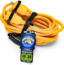 Camco 35' PowerGrip Marine Extension Cord with 30M/30F Locking Adapters | Allows for Additional Length to Reach Distant Power Outlets | Built to Last (55612)