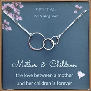 d20b27649 EFYTAL Mom 2 Children Necklace, Sterling Silver Three 3 Interlocking  Infinity Circles, Mothers Day