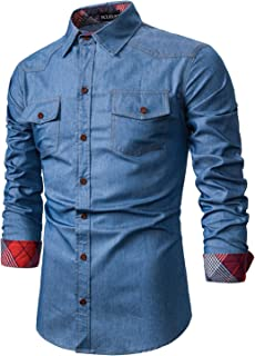 YCUEUST Hombre Casual Camisa Vaquera de Manga Larga con Botones