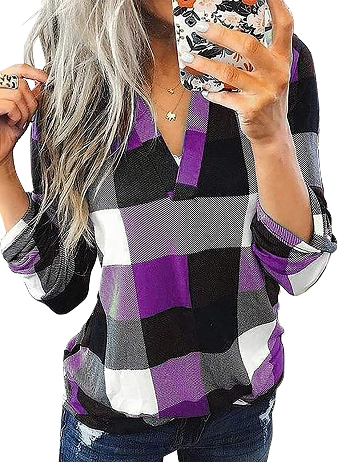 Astylish Womens Casual V Neck Cuffed Sleeves Plaid Shirts Blouses Top