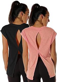 icyzone T-Shirt de Yoga Femme Manches Courtes - Fitness Running Décontracté Tops Dos Ouvert, Paquet de 2