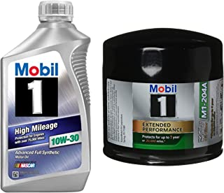 Mobil 1 High Mileage Full Synthetic Motor Oil 10W-30, 1-Quart, Single bundle with Mobil 1 M1-204A Extended Performance Oil Filter