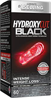 Hydroxycut Black, Weight Loss and Thermogenic Supplement for Men and Women, 60 Rapid-Release Liquid Capsules, Black