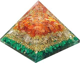 Piramide di orgone per cuore curativo Quarzo di cristallo di corniola rosso Piramide di orgonite di malachite per protezio...