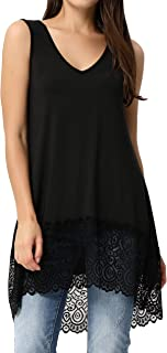 CURLBIUTY Women's Lace Trim Tank Tops Casual Loose Fit Sleeveless Slips Dress