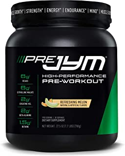 Pre JYM Pre Workout Powder - BCAAs, Creatine HCI, Citrulline Malate, Beta-Alanine, Betaine, and More | JYM Supplement Science | Refreshing Melon Flavor, 30 Servings