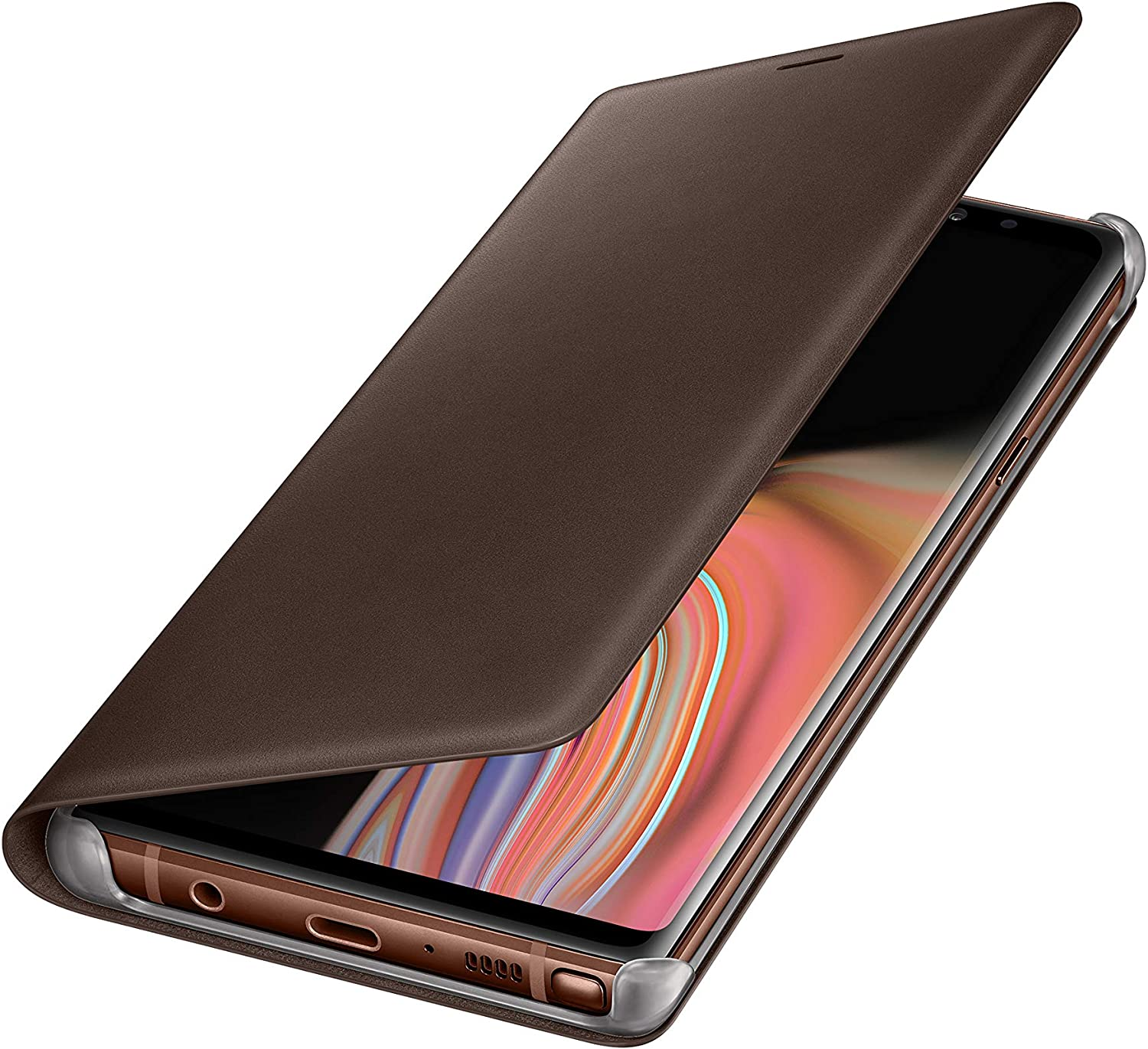 Samsung Galaxy Note9 Case, Genuine Leather Wallet Flip Cover, Brown
