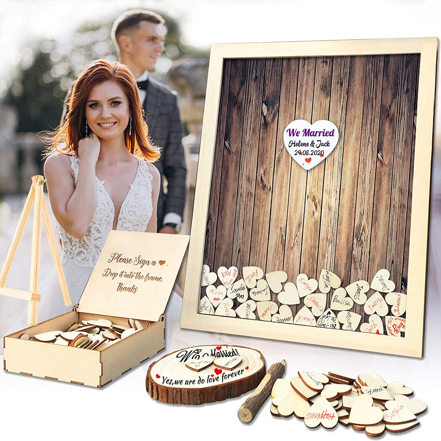 depot Wedding Guest Book Alternative Pen Sign Top fo Drop All stores are sold Wooden Frame
