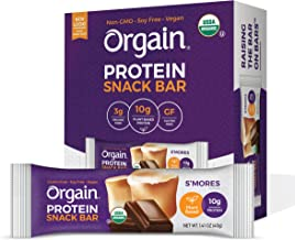 Orgain Organic Plant Based Protein Bar, S'Mores - Vegan, Gluten Free, Non Dairy, Soy Free, Lactose Free, Kosher, Non-GMO, 1.41 Ounce, 12 Count (Packaging May Vary)