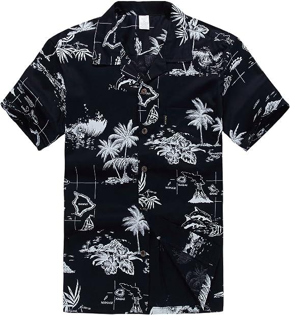 Hombres Aloha camisa hawaiana en Puesta del sol y Paisaje Azul Marino