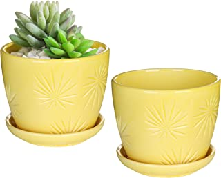 yellow ceramic flower pot