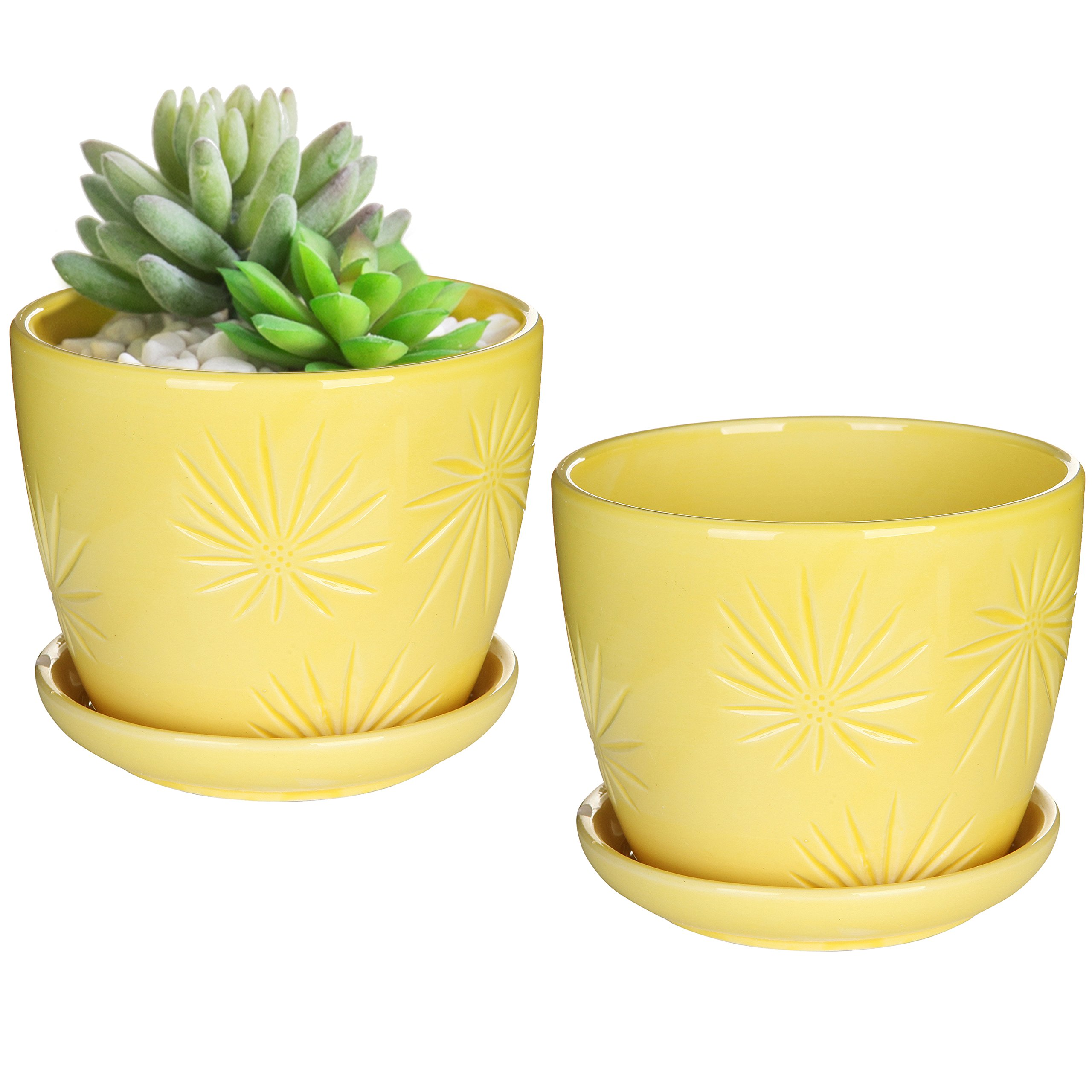 MyGift Set of 2 Yellow Sunburst Design Ceramic Flower Planter Pots/Decorative Plant Containers with  sc 1 st  Amazon.com & Ceramic Plant Pots Indoor: Amazon.com